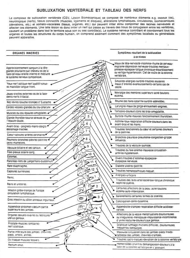 Subluxation Vertébrale et tableau des nerfs